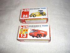 Lot of 2 TOMY Tomica Diecast Vehicles Komatsu Grader & Airport Crash Tender MIB