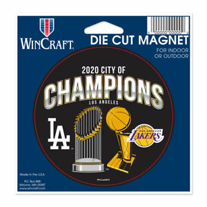 """LOS ANGELES LAKERS DODGERS 2020 CITY OF CHAMPIONS 4"""" DIE-CUT MAGNET NBA MLB"""