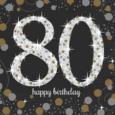SPARKLING CELEBRATION 80th Birthday SMALL NAPKINS (16) ~ Party Supplies Cake OTH
