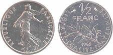 Ve République, piéfort de 1/2 franc semeuse, 1965, FDC, certificat - 10