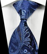 New Classic Paisleys Dark Blue Brown JACQUARD WOVEN 100% Silk Men's Tie Necktie