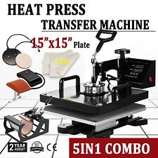"5IN1 15""x15"" T-Shirt Heat Press Transfer Kit Multifunctional Digital Swing Away"