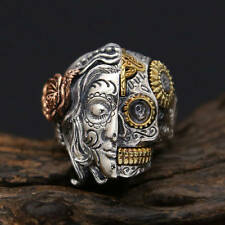 NEW! CUSTOM 925 STERLING SILVER TWO FACE CROSS SUGAR SKULL RING (all sizes)