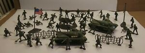 Green Army Military Toy Soldiers Plastic Figures w/ Tank LOT 50 items