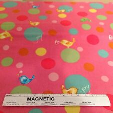 """1 yd. 24 in. Pink """"Birdies & Bubbles"""" Cotton Fabric by  Westminster Fibers"""