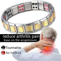 Double Strength Mens Magnetic Therapy Bracelet Arthritis Pain Relief Health Care