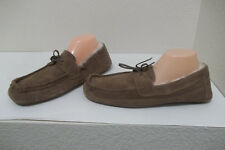 941f4b076457 MENS EDDIE BAUER BROWN FAUX FUR LINED LEATHER SLIPPERS SZ XL 11-12 NICE!