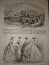 I lavori sul letto del lago REGENT'S PARK LONDRA 1868 old print ref Z1