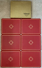 VINTAGE SET OF 6 MARLBOROUGH CLOVERLEAF RED PLACEMATS TABLE MATS