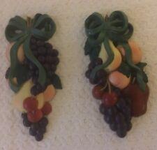 2 Vtg Kitchen Fruit Wall Plaques~ Burwood #3335~Apple Cherry Grape~Home Interior