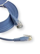 FLAT Cat6 RJ45 Internet Ethernet Network Cable LAN Patch Lead GIGABIT 32AWG Blue