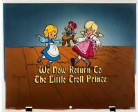 Little Troll Prince (1987) Key Master setup production cel background Christmas
