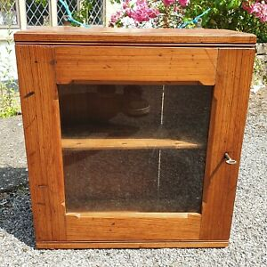 A Rustic Handmade Vintage Pine Cabinet/Cupboard with Shelf & Working Lock