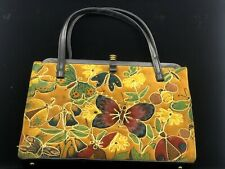 Vintage Retro 1970's Floral Flower Butterfly Embroidered Purse Velvet Gold