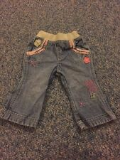 M&S Blue Denim Floral Jeans Trousers Baby Girls 3-6 Months Clothes