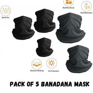 Face Mask Scarf Balaclava Bandana Neck Warmer 5pcs Snood Men Women Kids One Size