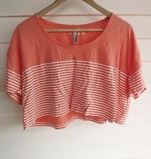 Roxy Women's Cropped Coral & White Stripe Short-Sleeve Top - Size 10
