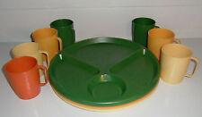 LUSTRO WARE 14 pcs Lot C-20, Plastic Cups Divided Plates 7 MATCHING SETS! Picnic
