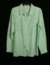 Quacker Factory Women's Top Green Embellished Size M