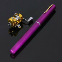 Portable Pocket Fish Pen Tool Fishing Rod Pole Reel Trolling Combos Purple EC