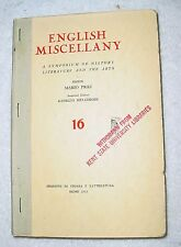 English Miscellany by Mario Praz & Giorgio Melchiori