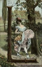 Alphabet Series Wood Branches Pretty Woman Letter L c1910 Postcard