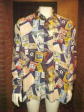 Rare Vintage Mens 100% Silk Shirt By Pele Pay Attention Soccer Fans Size Xl-Xxl