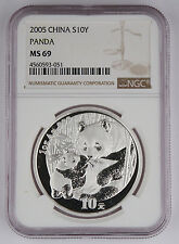 China 2005 1 Oz 999 Silver Panda 10 Yuan Coin NGC MS69 GEM BU+