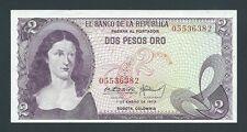 F.C. COLOMBIA , 2 PESOS ORO 1973 , S/C- ( AUNC ) , ARRUGA EN MARGEN , P.413a .