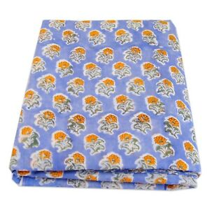 Indian Hand Block Floral Printed Cotton Fabric Dress Sewing Material 5 Yard IH7