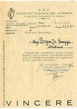Comando Federale Nuoro Gioventù Italiana del Littorio Certificato di Studio 1942
