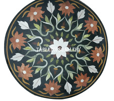 "30"" Black Marble Dining Table Jasper Inlay Living Room Mosaic Arts Decor H940A"