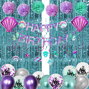 Luxiocio Mermaid Birthday Party Decorations Supplies Kit, 38Pcs Little Mermaid