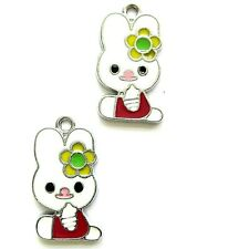 8 Enamel Easter Bunny Charms 23mm Pendants