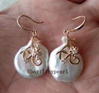 Neu Große Perle Ohrringe,  20 * 25 mm weiß Barock Perle Ohrringe