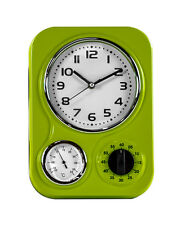 Vintage Diner Style Retro Lime Green Wall Clock Thermometer & Timer 33x24x8cm