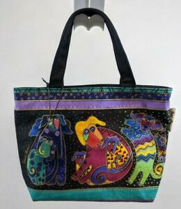 NWOT Laurel Burch Satchel Bag Purse handbag Dog Navy Cotton