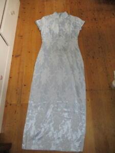 vintage pale blue brocade cheongsam dress  10 12 ish satin Australian shuteboss