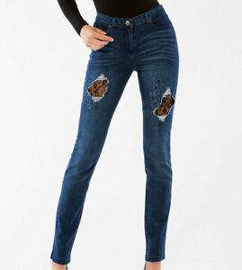 Leggings donna Matignon jeans in cotone con rotture chiuse in pizzo art Trend