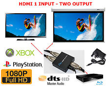 Splitter HDMI 1 ingresso 2 USCITE SDOPPIATORE DA 1 a 2 1080p 3D BLURAY PROIETTORE PS XB