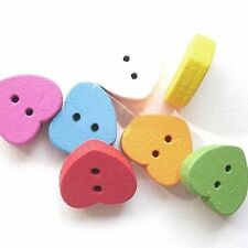 Heart Wooden Sewing Buttons
