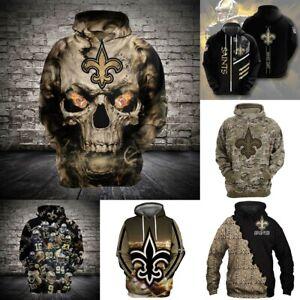 New Orleans Saints Football Hoodie Pullover Hooded Sweatshirt Fans Casual Jacket