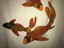 Vintage Alfred Shaheen Silk Fabric Silkscreen Japanese Wall Art Koi Fish NOS