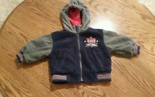 Carters Boys 12 month football reversable blue gray hooded zip up jacket