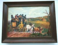 SM VINTAGE FOLK ART OIL PAINTING FRAME COUNTRY PRIMITIVE HORSES ENGLISH COACH