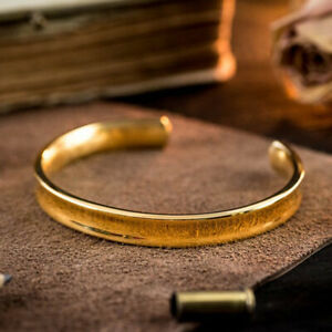 18 Kt Hallmark Stamped Real Solid Yellow Gold Wide Open Men's Cuff Bracelet
