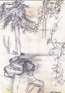 """BACK YARD"" by RUTH FREEMAN GRAPHITE 8 1/4"" X 11 1/2"""