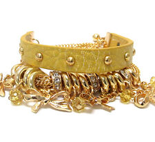 Celebrity Statement Gold Leather,Chain,Crystal Charm Bracelet by Rocks Boutique