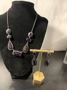 "Avon Purple Gothic Necklace Choker Earring Set Vintage 18"" Adjustable"