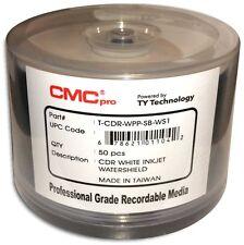 100-Pak CMC PRO =WATERSHIELD & GLOSSY= White Inkjet Hub 52X 80-Min CD-R's